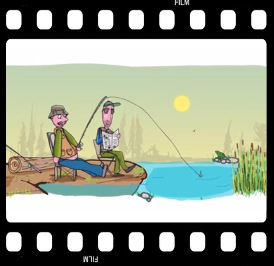 Angler sitzen am Gewässer