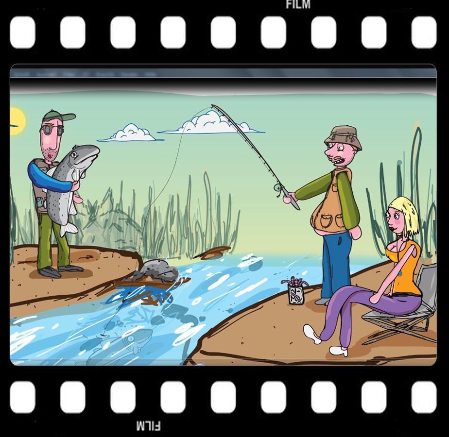Angler mit Bachforelle