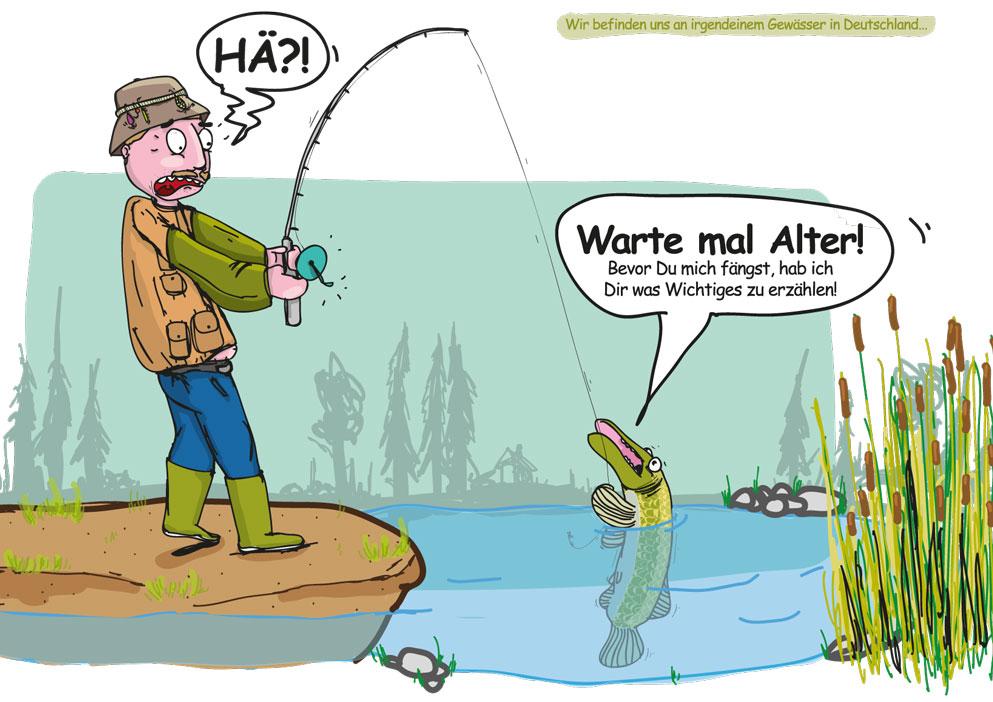Angler mit sprechendem Hecht