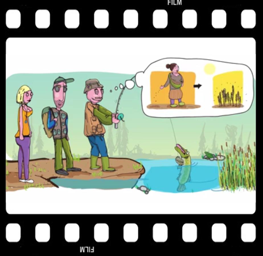Comicfiguren und Hecht am Wasser